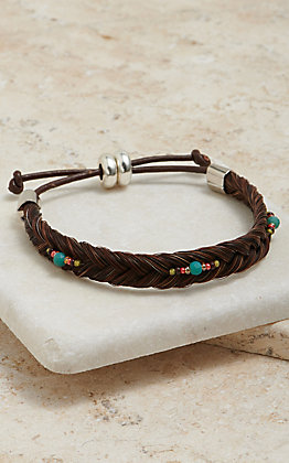 Cowboy Collectibles Braided Horse Hair With Turquoise And Red Beaded Accents Bracelet