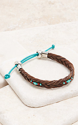Cowboy Collectibles Sorrel With Turquoise Beads Braided Horse Hair Bracelet
