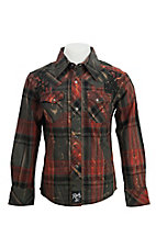 Rock 47 by Wrangler Boys Plaid Long Sleeve Western Snap Shirt BRC246M