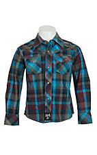 Rock 47 by Wrangler Boys Plaid Long Sleeve Western Snap Shirt BRC248M