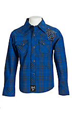 Rock 47 Blue Plaid Western Shirt BRC255M