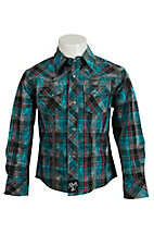 Rock 47 Boys Teal and Black Plaid Western Shirt BRC256M
