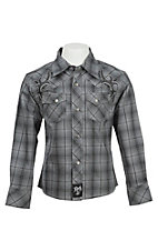 Rock 47 by Wrangler Boy's Grey Plaid Embroidered Long Sleeve Western Shirt