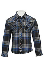 Rock 47 by Wrangler Boy's Blue and Black Plaid L/S Classic Western Shirt