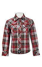 Rock 47 by Wrangler Boy's Red, Grey, and White Plaid L/S Western Shirt