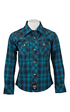 Rock 47 by Wrangler Boy's Blue, Turquoise, and Black Plaid L/S Western Shirt