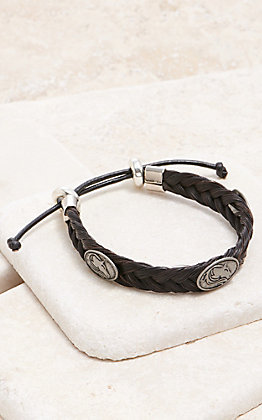Cowboy Collectibles Black With Silver Horse Conchos Braided Horse Hair Bracelet