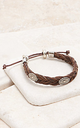 Cowboy Collectibles Sorrel With Western Silver Conchos Braided Horse Hair Bracelet