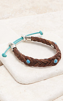 Cowboy Collectibles Sorrel With Turquoise Stones Braided Horse Hair Bracelet