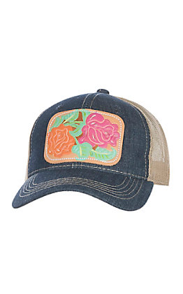 McIntire Saddlery Denim Bright Red Rose Cactus Cap