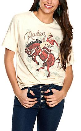 XOXO Art Co Cream Rodeo Bronc Rider Short Sleeve T-Shirt
