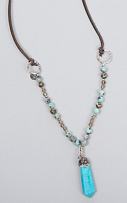 Laminin Brook Blue Turquoise Pendent Leather Necklace