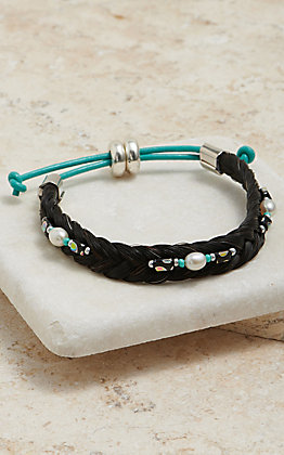 Cowboy Collectibles Black Braided Horse Hair With White Pearl Beaded Accents Bracelet