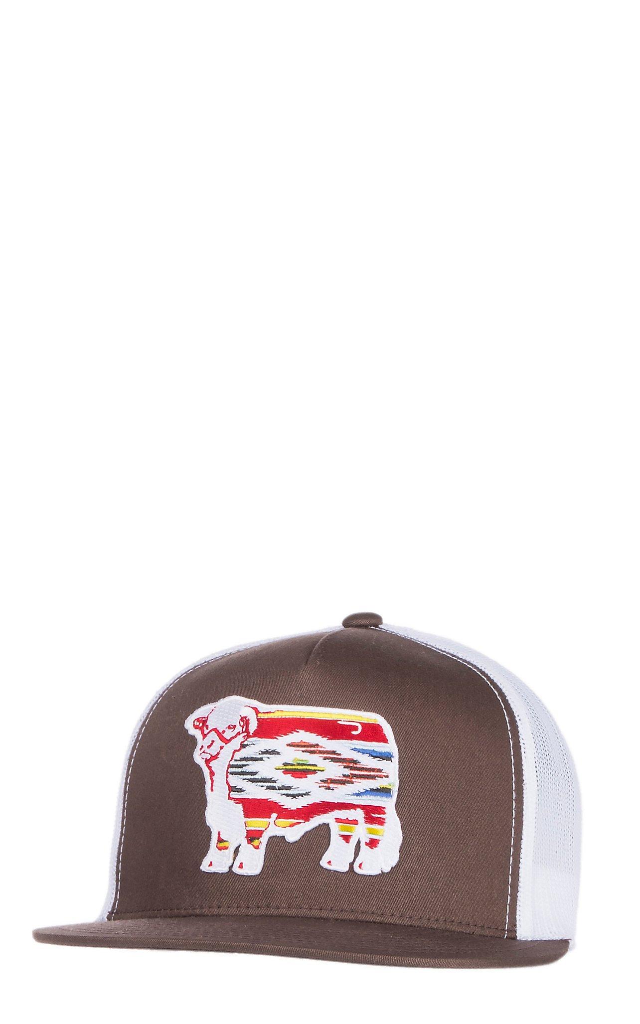 2d883827d6b Lazy J Ranchwear Brown Serape Elevation Patch Snap Back Cap