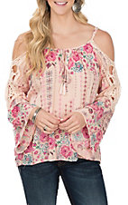 Angie Pink  Floral Cold Shoulder Crochet Sleeve Fashion Shirt