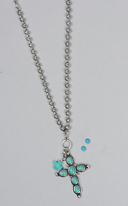 Amber's Allie Silver and Turquoise Cross Jewelry Set