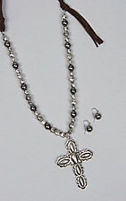 Amber's Allie Silver Cross Necklace Jewelry Set