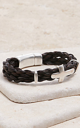 Cowboy Collectibles Black Horse Hair with Silver Cross Slide Bracelet