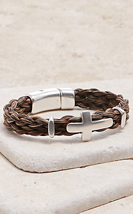 Cowboy Collectibles Mixed Braided Horse Hair With Silver Cross Bracelet