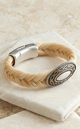 Cowboy Collectibles Cream Horse Hair with Oval Barbwire Concho Bracelet
