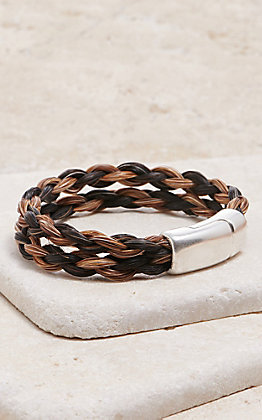 Cowboy Collectibles Black and Cinnamon Double Spiral Horse Hair Bracelet