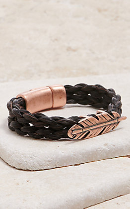 Cowboy Collectibles Black Braided Horse Hair With Copper Feather Bracelet