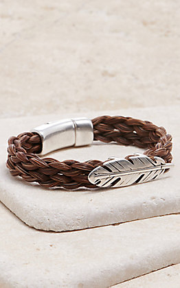 Cowboy Collectibles Sorrel Horse Hair with Silver Feather Slide Bracelet