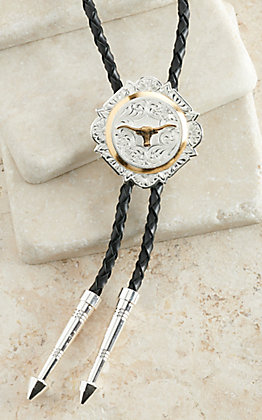Montana Silversmiths Silver with Gold Longhorn Bolo Tie