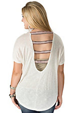 Karlie Women's Ivory Knit with Embroidered Ladder Back Short Dolman Sleeve Top