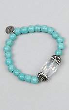 Laminin Buckaroo Turquoise Beaded Bracelet with Pyrite