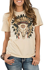 XOXO Art Co. Women's Soft Cream Buffao Headdress Casual Knit Shirt