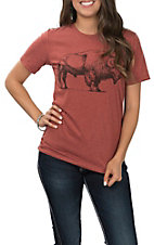 Women's Clay Buffalo Round Neck Short Sleeve T-Shirt
