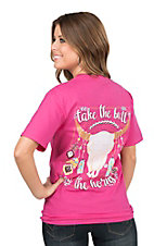 Girlie Girl Originals Women's Pink with Take The Bull By The Horns Screen Print Short Sleeve T-Shirt