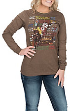 XOXO Art & Co. Women's Brown Bullrider L/S T-Shirt