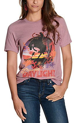 Ranch Swag Women's Lilac Purple Burnin' Daylight Graphic Short Sleeve T-Shirt