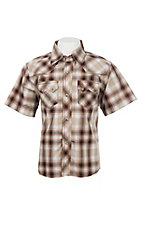 Wrangler Boy's Khaki and Brown Plaid S/S Western Fashion Shirt