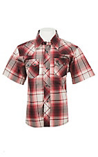 Wrangler Boy's Red and White Plaid S/S Western Fashion Shirt