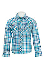 Wrangler Boy's Blue Plaid L/S Classic Western Shirt