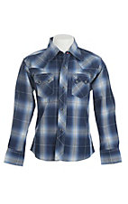 Wrangler Boy's Blue and White Plaid L/S Western Snap Shirt