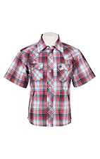 Wrangler Boy's Blue and Red Plaid Short Sleeve Western Snap Shirt