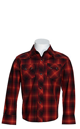 Wrangler Retro Boy's Red, Orange and Black Plaid Long Sleeve Western Shirt