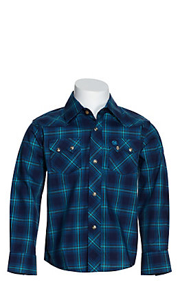Wrangler Retro Boys' Blue, Turquoise and Black Plaid Long Sleeve Western Shirt