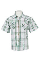 Wrangler Boy's Green and White Plaid S/S Classic Western Shirt