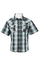 Wrangler Boy's Blue and Olive Plaid S/S Classic Western Shirt