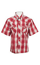 Wrangler Boy's Red Plaid Short Sleeve Western Shirt
