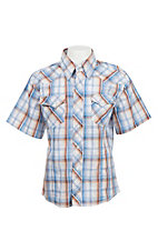Wrangler Boy's Blue Plaid Short Sleeve Western Shirt