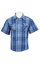 Wrangler Boy's Blue Plaid S/S Classic Western Shirt