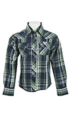 Wrangler Boy's L/S Navy and Green Plaid Western Shirt