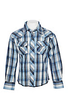 Wrangler Boys Blue and Black Plaid Easy Care L/S Western Snap Shirt