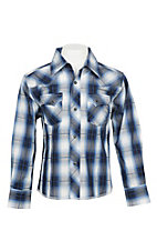 Wrangler Boy's Blue, White, and Black Plaid Wrinkle Resist L/S Western Snap Shirt